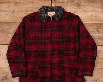 82c94c0ddc Womens Vintage Woolrich rot Buffalo überprüfen wolle Jacke Mantel USA große  14 R11147