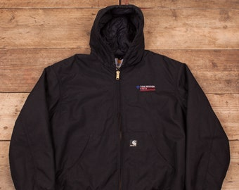 "Mens Vintage Carhartt Black Quilt Lined Nylon Jacket Coat Hoodie XL 48"" R8704"
