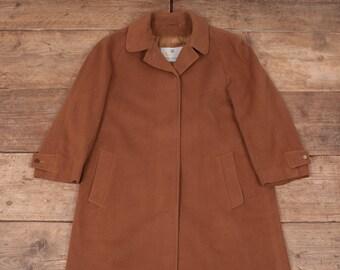 Womens Vintage Aquascutum Beige Cashmere Coat Large 12-14 R6940
