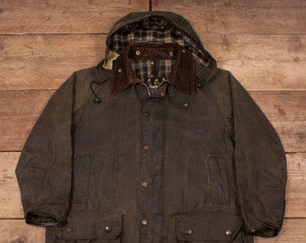 f048a1341d030 Mens Vintage Barbour Beaufort Green Waxed Cotton Jacket Coat Large 42