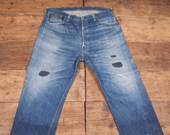Levis True Vintage 501 Pre 1955 Denim Jeans. Hidden Rivets Big E One Side Tab. Mens 40 x 32. HW31