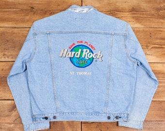 Mens Vintage Hard Rock Cafe Pale Blue Denim Trucker Jean Jacket Large R21981