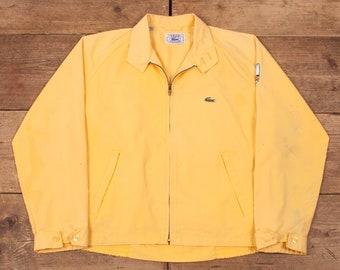 "Mens Vintage Lacoste IZOD Yellow Bomber Windbreaker Jacket Medium 40"" R14975"