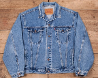 "b5d16688140 Mens Vintage Levis Red Tab 90s Blue Denim Trucker Jacket Large 44"" R12708"