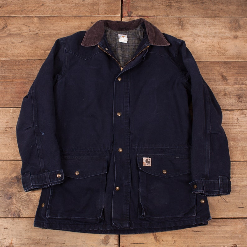 Mens Vintage Carhartt Blue Blanket Lined Workwear Chore Jacket image 0