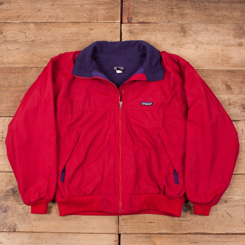 Mens Vintage Patagonia 90s Red Fleece Lined Bomber Jacket USA image 0