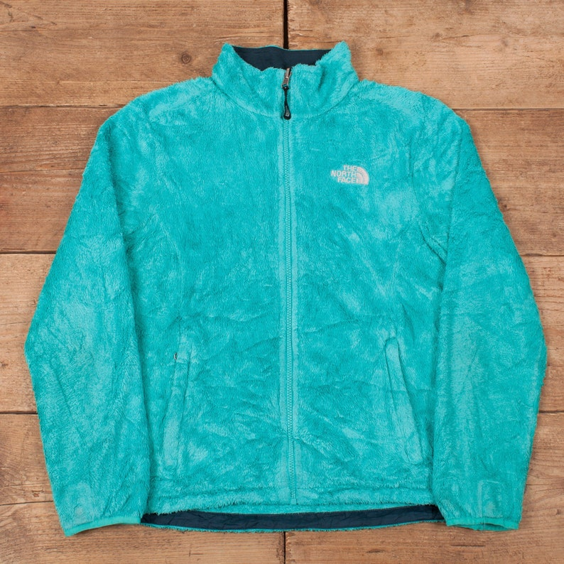 Womens Vintage North Face Blue Turquoise Outdoor Fleece Jacket image 0