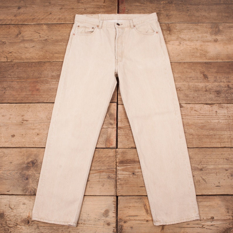 Mens Vintage Levis Red Tab 501 90s Beige Stone Denim Jeans USA image 0