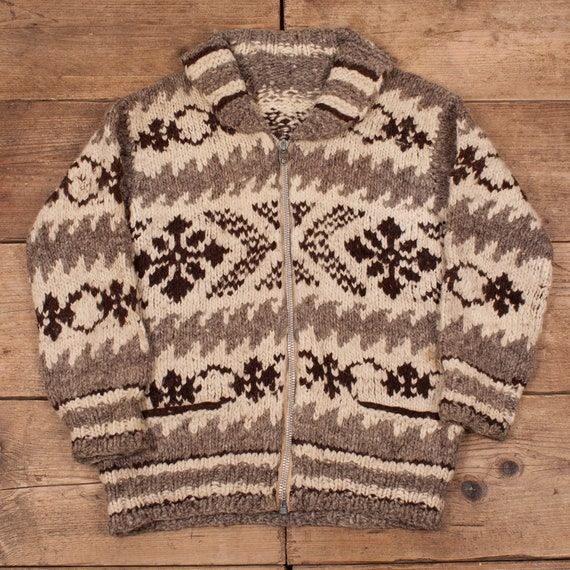 Mens Vintage Cowichan 50s Shawl Cardigan Sweater L