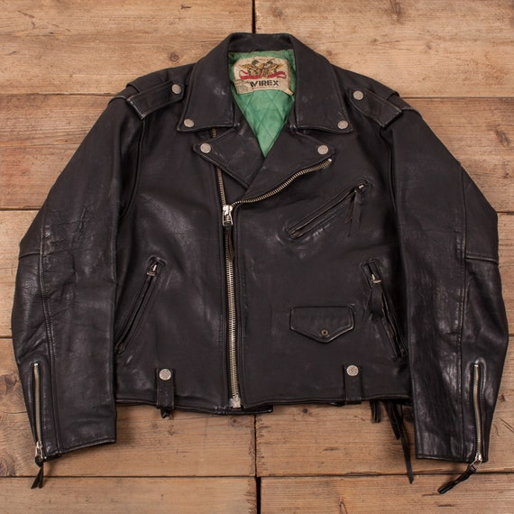 Mens Vintage 90s Avirex Black Leather Motorcycle B