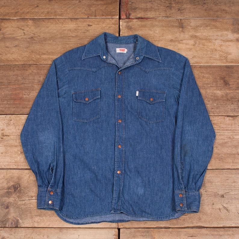 8960f488c40 Mens Vintage Levis 1960s Big E White Tab Blue Denim Shirt