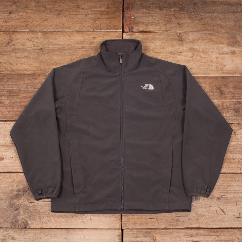 Mens Vintage North Face Grey Polyester Outdoors Fleece Jacket image 0