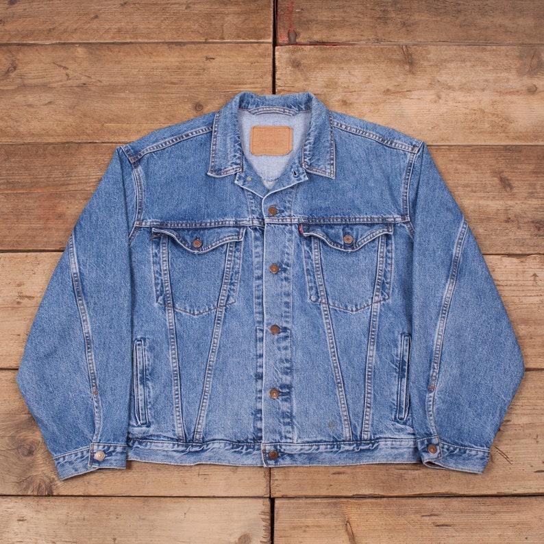 Mens Vintage Levis Red Tab 90s Blue Denim Trucker Jacket Large image 0