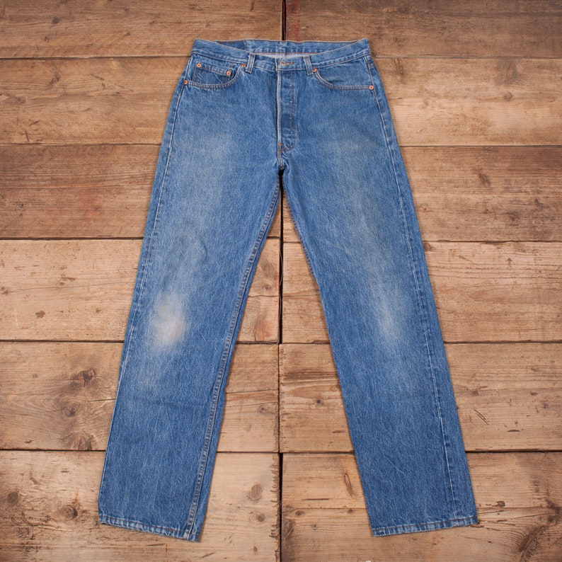 Mens Vintage Levis Red Tab 501 90s Blue Denim Jeans USA Made image 0