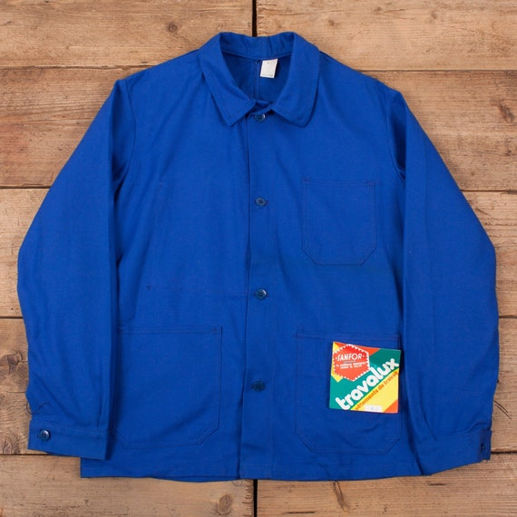 Mens Vintage Deadstock NOS Blue French Workwear C… - image 1
