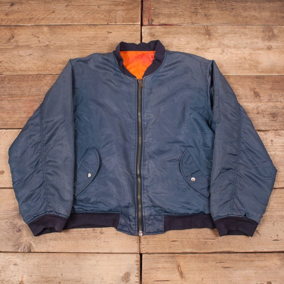 Mens Vintage Alpha Industries Blue MA1 Reversible