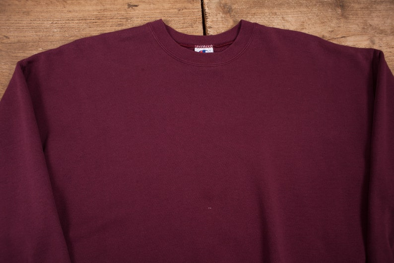 Mens Vintage Champion Red Maroon Drop Shoulder Sweatshirt Jumper XL 46\u201d R12181