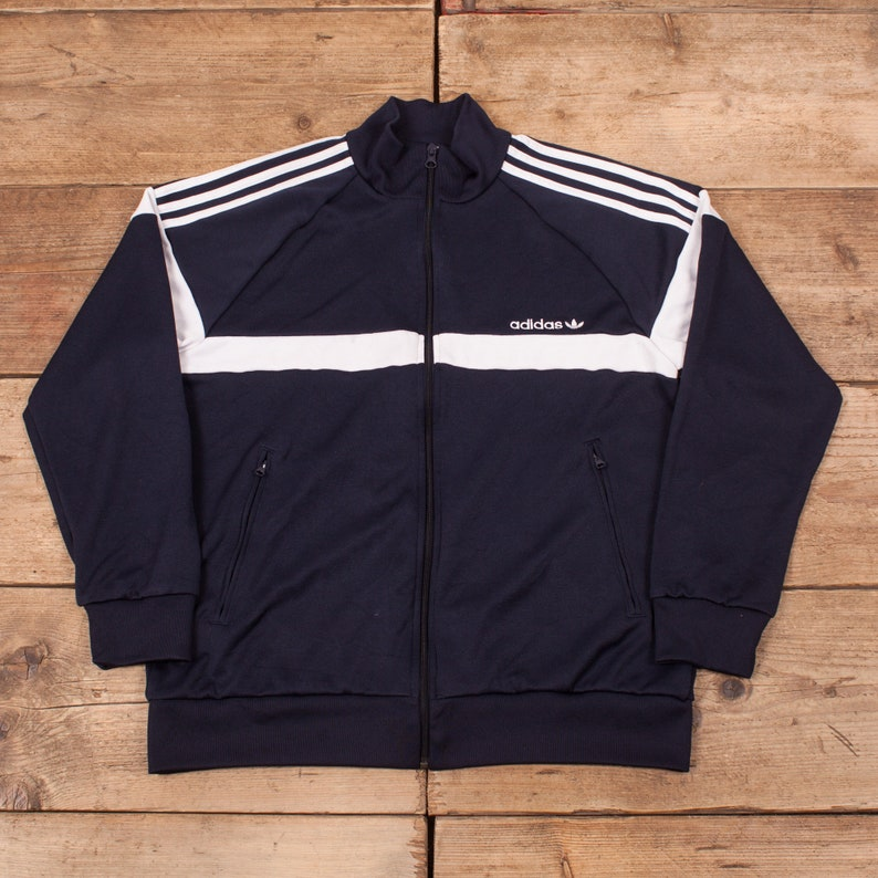Vintage Adidas Black White WIndbreaker 3 Stripes Trefoil X