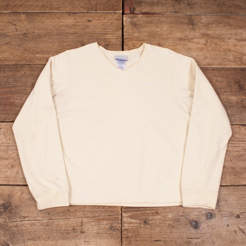 f237f098d0c1a Womens Vintage Reebok Yellow V Neck Jumper Sweatshirt Large 14 R7954