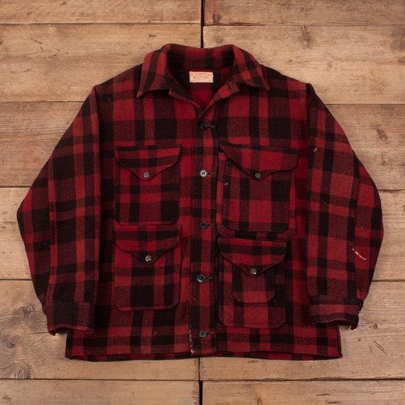 Mens Vintage 40s CC Filson Red Plaid Mackinaw Wool