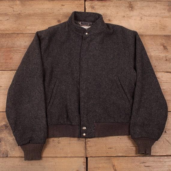 Mens Vintage 70s Woolrich Grey Wool Bomber Coat Ja