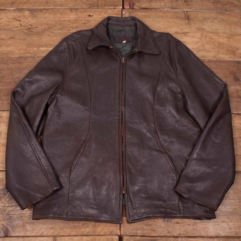 2cce3c7efbb9 Mens Vintage 1960s Talon Zip Dark Brown Leather Jacket Size M