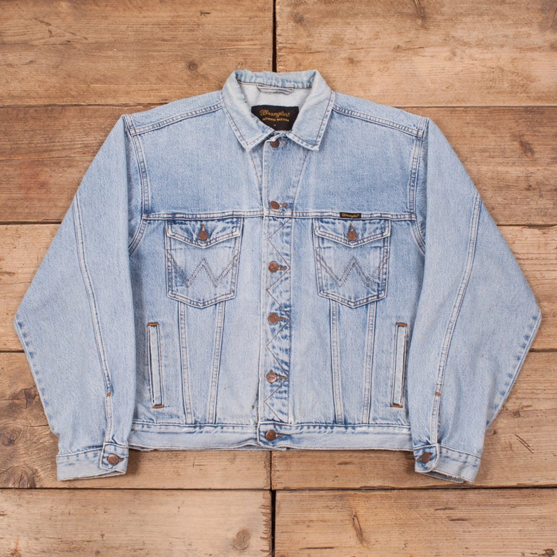 Mens Vintage Wrangler Pale Stonewash Blue Denim Trucker Jacket image 0