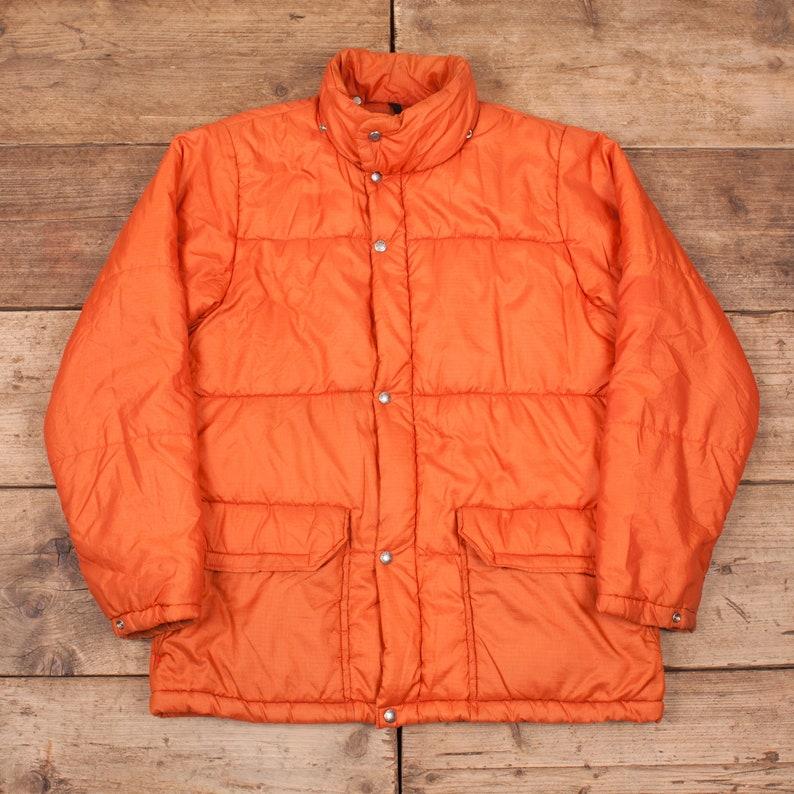 Mens Vintage North Face 1970s Orange Down Puffer Jacket Coat image 0