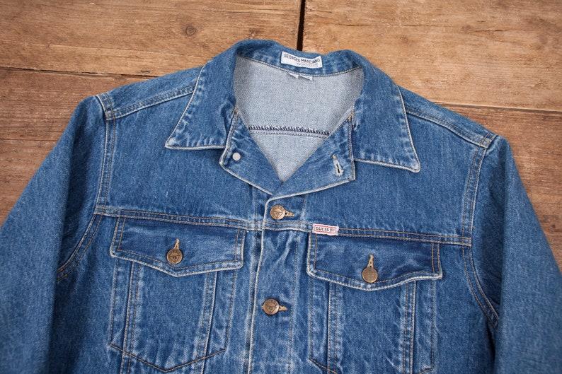 Vintage Herren 80er Jahre Guess Jeans blau Jean Jacke Indigo Denim Jacke Medium Made in usa