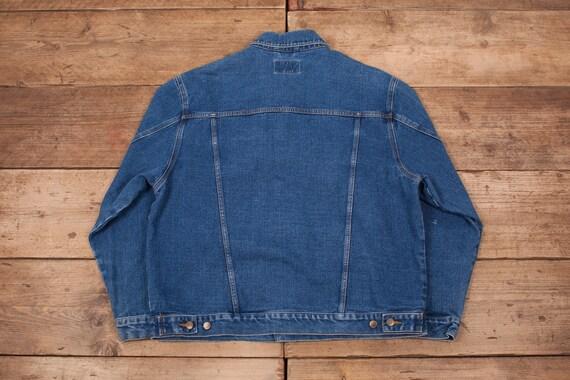 Mens Vintage Lee Dark Stonewash Blue Denim Western Trucker Jacket XL 48\u201d R12926