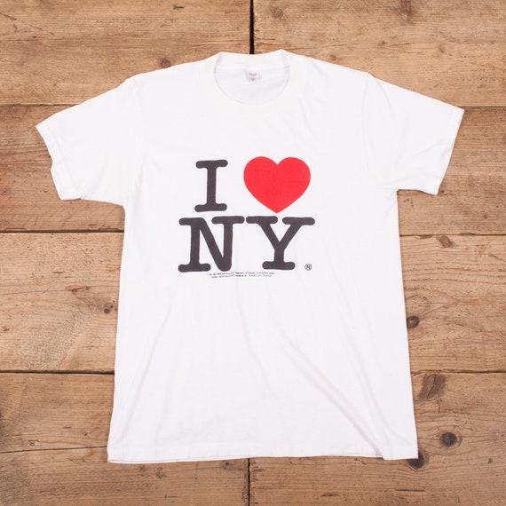 Women's Vintage 90s White I Love Heart NY Single S