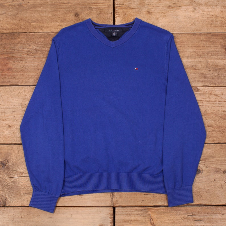 Mens Vintage Tommy Hilfiger Blue V Neck Sweatshirt Jumper Medium 38\u201d R12203