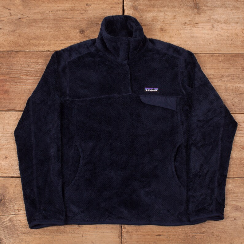 Mens Vintage Patagonia Navy Blue PILE Snap T Fleece Pullover image 0