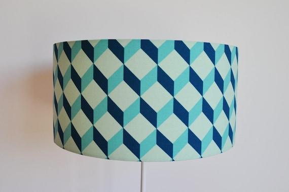 abat jour suspension bleu canard cylindrique tambour etsy. Black Bedroom Furniture Sets. Home Design Ideas