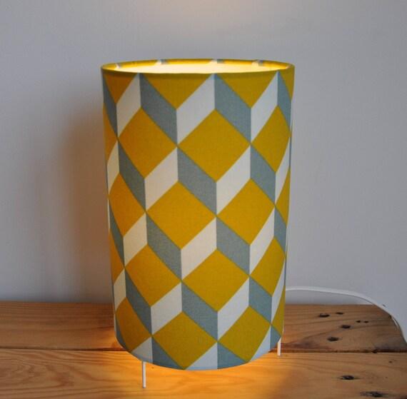 Lampe Cube Jaune Moutarde Bleu Gris Style Scandinave Etsy