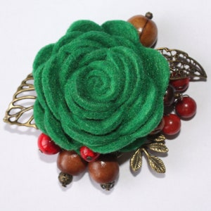 Flower Fabric Cotton Brooch Handmade Pin Textile Brooch Gift For Woman. Rose Brooch Brooch Vintage Leaves Cotton Rose Flower Pin
