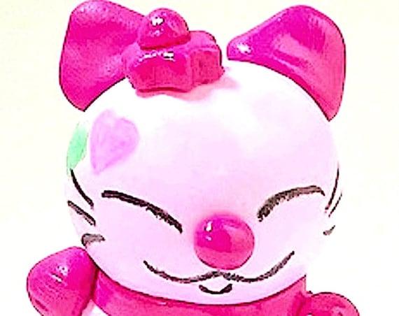 pink cat in fimo maneki neko Japanese decoration