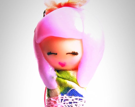 Japanese charm pink hair fimo kimono tulle pink gift idea girl mom