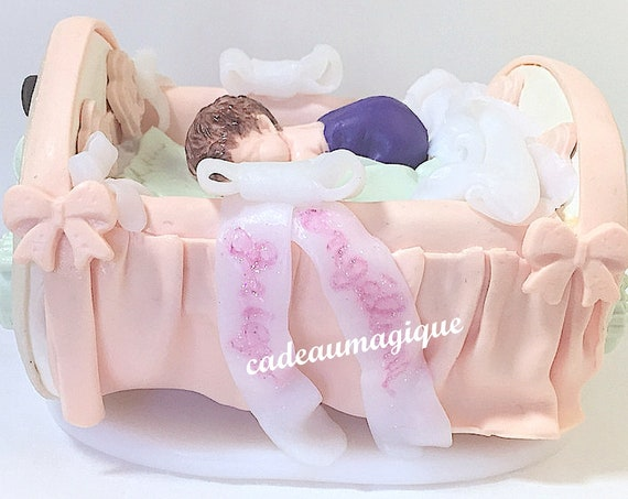 miniature baby bed in fimo deco table cakeau baby shower baptism