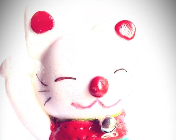 fimo figurine - white cat - maneki neko - lucky gift
