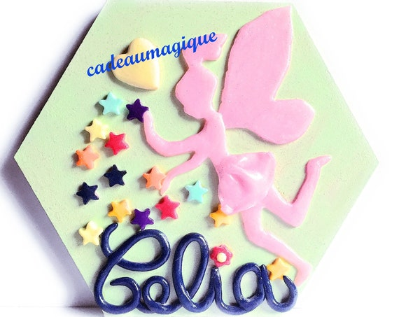 wooden frame - figurine fimo - fee - wall decoration - decoration children's room