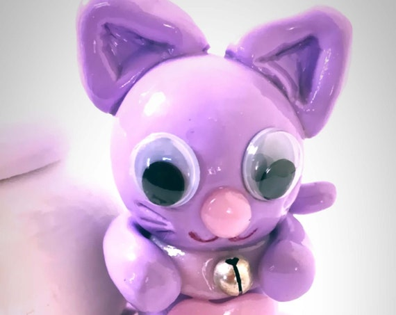 red-toothed cat kawaii purple pink fimo: personalized gift baby child