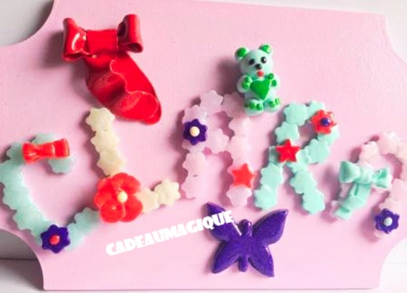 wooden frame - fimo figurine - deco bear butterfly - decorative mural children's room