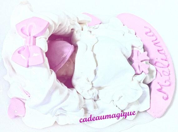 white white couffin pink bebe miniature fimo - deco shabby chic