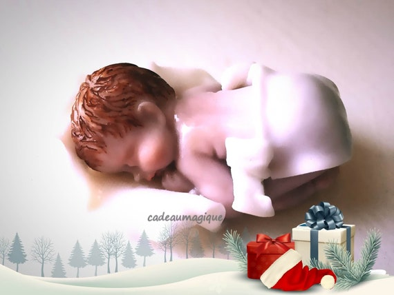 fimo figurine - miniature baby - white lange - pregnancy announcement - party deco