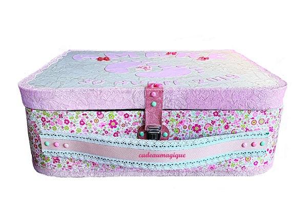 large vintage cardboard suitcase: baby shower decoration