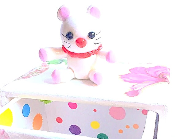 cardboard box with drawer - fimo figurine: personalized child baby gift