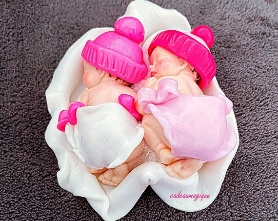 Baby girl duo in fimo for birth twins