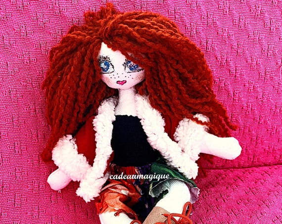 Faustina, pretty rag doll: wonderful gift idea for little girl