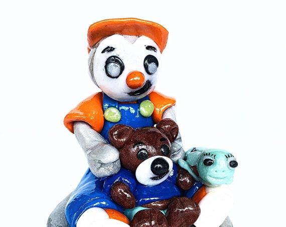 Little boy penguin style, teddy bear - fimo: custom deco